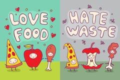 Τρόφιμα αγάπης και απεικόνιση αποβλήτων μίσους Στοκ εικόνες με δικαίωμα ελεύθερης χρήσης