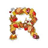 Τρόφιμα γραμμάτων Ρ Εδώδιμο αλφάβητο σημαδιών από την πίτσα και το χάμπουργκερ Φε Στοκ φωτογραφίες με δικαίωμα ελεύθερης χρήσης