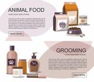 Τρόφιμα και καλλωπισμός για τα κατοικίδια ζώα Κατάστημα εξαρτημάτων Έμβλημα Ιστού απεικόνιση αποθεμάτων