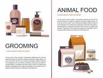 Τρόφιμα και καλλωπισμός για τα κατοικίδια ζώα Κατάστημα εξαρτημάτων Έμβλημα Ιστού διανυσματική απεικόνιση