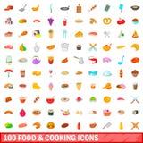 τρόφιμα 100 και μαγειρεύοντας εικονίδια καθορισμένα, ύφος κινούμενων σχεδίων Στοκ εικόνες με δικαίωμα ελεύθερης χρήσης