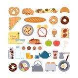 Τρόφιμα και στοιχεία προγευμάτων διανυσματική απεικόνιση