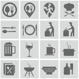 Τρόφιμα και σύνολο εικονιδίων μαγειρέματος Στοκ εικόνα με δικαίωμα ελεύθερης χρήσης