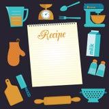 Τρόφιμα και σύνολο εικονιδίων συνταγής μαγειρέματος Στοκ Εικόνες