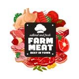 Τρόφιμα κρέατος κρεοπωλείων, λιχουδιές καταστημάτων χασάπηδων διανυσματική απεικόνιση