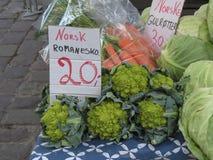 Τρόφιμα λαχανικών μπρόκολου Romanesco στο Όσλο Στοκ φωτογραφία με δικαίωμα ελεύθερης χρήσης