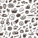 Τρόφιμα, μαγειρική - άνευ ραφής διανυσματικό υπόβαθρο Στοκ Εικόνες