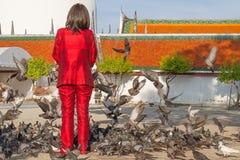 Τρόφιμα σίτισης γυναικών στα πετώντας περιστέρια μπροστά από το ναό Στοκ Εικόνες