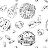 Τρόφιμα σκίτσων Doodle Στοκ Φωτογραφία