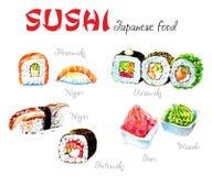 Τρόφιμα της Ιαπωνίας Σύνολο διάφορων διαφορετικών τύπων σουσιών που απομονώνονται στο άσπρο υπόβαθρο απεικόνιση αποθεμάτων