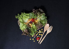 τρόφιμα υγιή Καθαρά τρόφιμα, φρέσκια πράσινη σαλάτα στο μαύρο υπόβαθρο Στοκ Εικόνες