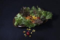 τρόφιμα υγιή Καθαρά τρόφιμα, φρέσκια πράσινη σαλάτα στο μαύρο υπόβαθρο Στοκ εικόνες με δικαίωμα ελεύθερης χρήσης