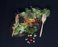 τρόφιμα υγιή Καθαρά τρόφιμα, φρέσκια πράσινη σαλάτα στο μαύρο υπόβαθρο Στοκ φωτογραφία με δικαίωμα ελεύθερης χρήσης