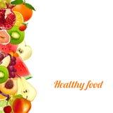 τρόφιμα υγιή καρποί έμβλημα από τα διαφορετικά φρούτα διανυσματική απεικόνιση
