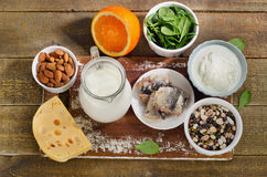 Τρόφιμα υψηλότερα στο ασβέστιο στοκ εικόνες