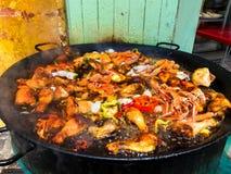 Τρόφιμα. Paella. Ισπανικά τρόφιμα. Διακοπές. Στοκ Φωτογραφία
