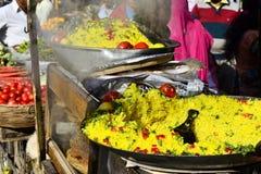 Τρόφιμα Poha οδών Παραδοσιακό ινδικό πρόγευμα στοκ φωτογραφίες με δικαίωμα ελεύθερης χρήσης