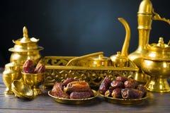 Τρόφιμα Ramadan γνωστά επίσης ως kurma, ημερομηνίες φοινικών Στοκ Εικόνες