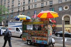ΤΡΌΦΙΜΑ VANDOR HALAL ΣΤΟ ΜΑΝΧΆΤΑΝ NYC στοκ εικόνα με δικαίωμα ελεύθερης χρήσης