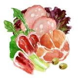 Τρόφιμα Watercolor Λιχουδιές κρέατος απεικόνιση αποθεμάτων