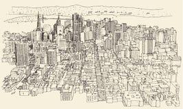 Τρύγος αρχιτεκτονικής πόλεων του Σαν Φρανσίσκο που χαράσσεται Στοκ Φωτογραφία