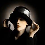 τρύγος γυναικείου πορτρέτου καπέλων Στοκ φωτογραφία με δικαίωμα ελεύθερης χρήσης