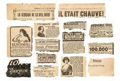 Τρύγος κομματιών εφημερίδων που διαφημίζει τις γαλλικές σελίδες περιοδικών στοκ εικόνες