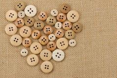τρύγος κουμπιών ξύλινος Στοκ Φωτογραφίες