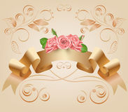 Τρύγος, κρητιδογραφία, διακοσμητική κορδέλλα με τα λουλούδια, ρόδινα τριαντάφυλλα διάνυσμα Κύλινδρος περγαμηνής και παπύρων στο δ Στοκ Εικόνες