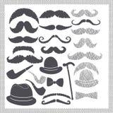 Τρύγος που τίθεται με τα mustaches, τα καπέλα και τους σωλήνες απεικόνιση αποθεμάτων