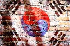 Τρύγος που φιλτράρονται, εθνική σημαία της Νότιας Κορέας στο τούβλο στοκ φωτογραφίες