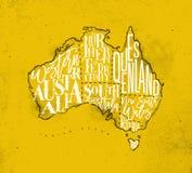 Τρύγος της Αυστραλίας χαρτών κίτρινος Στοκ Εικόνες