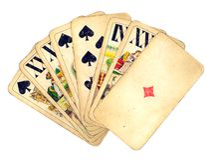 τρύγος χεριών καρτών Στοκ Εικόνα
