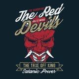 Τρύγος ύφους Grunge το κόκκινο διάνυσμα σχεδίων χεριών διαβόλων ελεύθερη απεικόνιση δικαιώματος