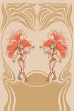 Τρύγος affiche με την ελκυστική βασίλισσα samba Στοκ Φωτογραφίες