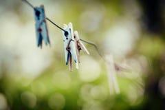 Τρύγος clothespins Στοκ Εικόνα