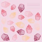 Τρύγος cupcake Κάρτα cupcakes hand-drawn με Στοκ Εικόνες