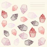 Τρύγος cupcake Κάρτα cupcakes hand-drawn με Στοκ εικόνες με δικαίωμα ελεύθερης χρήσης