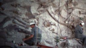 (τρύγος 8mm) άτομα του 1966 που σκάβουν τα απολιθώματα Κολοράντο, ΗΠΑ δεινοσαύρων απόθεμα βίντεο