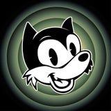 Τρύγος toons το αναδρομικό smiley χαρακτήρα κινουμένων σχεδίων woolf στο looney υποβάθρου συντονίζει Στοκ Φωτογραφία