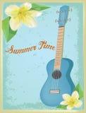Τρύγος ukulele στην αφίσα θερινού χρόνου Στοκ Φωτογραφία