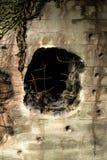 Τρύπα από ένα πυροβολικό shel Στοκ εικόνες με δικαίωμα ελεύθερης χρήσης
