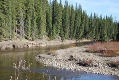 Τρύπα αλιείας στον ποταμό Pembina Στοκ Εικόνα