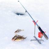 Τρύπα πάγου για την αλιεία Στοκ Εικόνες