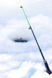 Τρύπα πάγου για την αλιεία Στοκ φωτογραφία με δικαίωμα ελεύθερης χρήσης