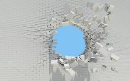 Τρύπα σε έναν τουβλότοιχο Στοκ Εικόνα