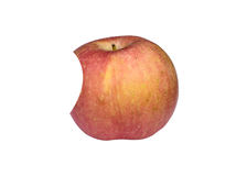 Τρώω τα μήλα που απομονώνονται στο άσπρο υπόβαθρο Στοκ εικόνα με δικαίωμα ελεύθερης χρήσης