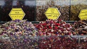 Τσάγια και καρυκεύματα στο καρύκευμα Bazaar απόθεμα βίντεο