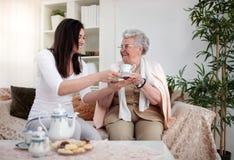 Τσάι για το grandma στοκ φωτογραφία με δικαίωμα ελεύθερης χρήσης