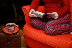 Τσάι γυναικείων ανάγνωσης και κατανάλωσης από την εστία Στοκ φωτογραφίες με δικαίωμα ελεύθερης χρήσης